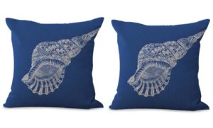set of 2 costal beach marine seashell cushion cover