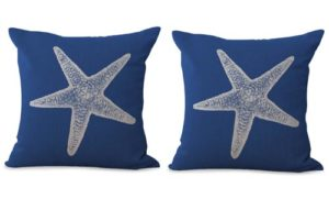 set of 2 starfish sea star cushion cover ocean seaside