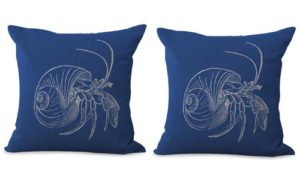 set of 2 vintage sea life lobster shell cushion cover