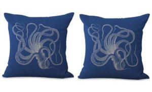 set of 2 marine life octupus cushion cover