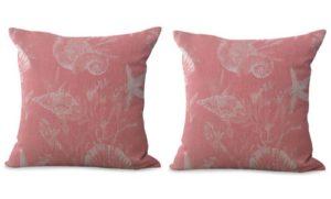 set of 2 marine life nautical shells cushion cover