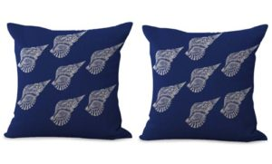 set of 2 marine life nautical seashell cushion cover