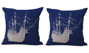set of 2 sailor beach ship cushion cover
