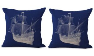 set of 2 beach coastal ship cushion cover