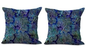 set of 2 coral reef tie dye print seaside cushion cover