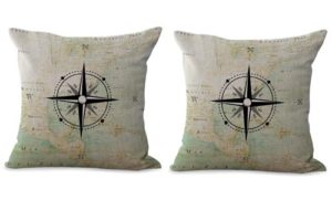set of 2 ocean coastal sailing world map compass cushion cover