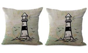 set of 2 world map lighthouse seaside cushion cover