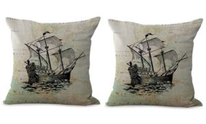 set of 2 world map ship seaside cushion cover