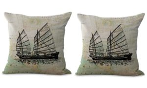 set of 2 beach nautical yachts sailing boat map cushion cover