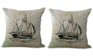 set of 2 yachts sailing boat world map cushion cover