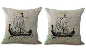 set of 2 nautical beach decor boat map cushion cover