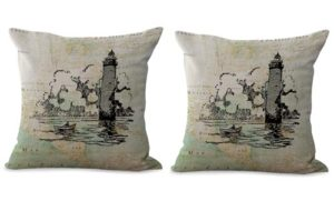 set of 2 marine nautical lighthouse cushion cover