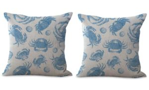 set of 2 sailing sea life crab cushion cover