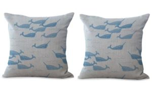 set of 2 marine nautical whale animal cushion cover
