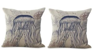 set of 2 jellyfish ocean beach nautical cushion cover