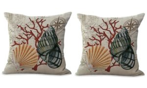 set of 2 sailor beach coral reef seashell cushion cover