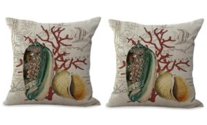 set of 2 coastal seaside coral reef seashell cushion cover