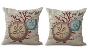 set of 2 sailor beach coral reef sea urchins sand dollar cushion cover