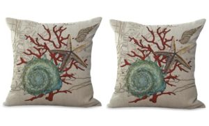 set of 2 sailor beach starfish coral reef seashell cushion cover