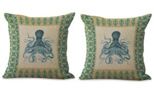 set of 2 beach nautical octopus cushion cover