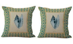 set of 2 sailing sea life vintage shell cushion cover