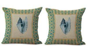 set of 2 sailing sea life vintage shell cushion cover