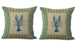set of 2 sailing sea life lobster cushion cover