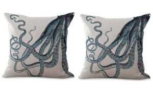 set of 2 ocean sea life octopus cushion cover