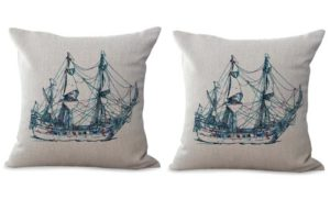 set of 2 sailing boat travel coastal cushion cover