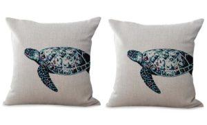 set of 2 sea life coastal turtle cushion cover