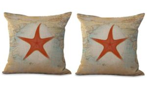 set of 2 starfish sea star cushion cover map marine