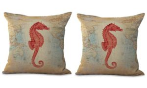 set of 2 seahorse marine fish world map cushion cover