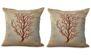 set of 2 coral reef seaside beach world map cushion cover