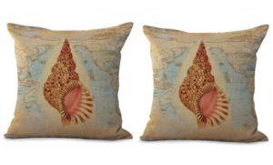 set of 2 nautical seashell sealife pillow cover