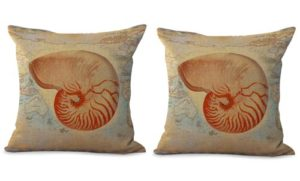 set of 2 nautical seashell sealife pillow cover