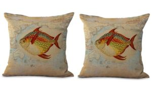 set of 2 ocean fish sea life map cushion cover