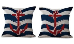set of 2 marine nautical anchor sailor cushion cover