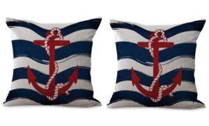 set of 2 marine nautical anchor sailor cushion cover
