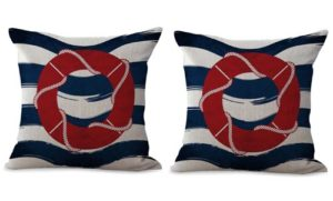 set of 2 marine nautical lifebuoy sailor cushion cover