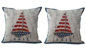 set of 2 American flag sailing boat cushion cover