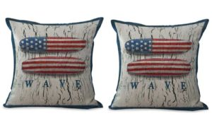 set of 2 beach American flag cushion cover