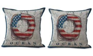 set of 2 Lifebuoy beach American flag cushion cover