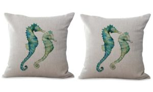 set of 2 seahorse marine fish ocean cushion cover