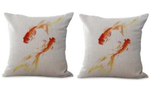 set of 2 marine ocean gold fishes cushion cover