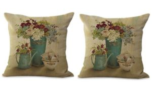 set of 2 vintage European garden flower cushion cover