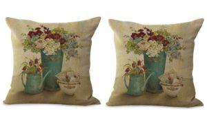 set of 2 vintage European garden flower cushion cover