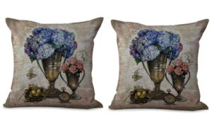set of 2 vase vintage flower cushion cover