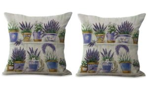 set of 2 vintage lavendar flower cushion cover