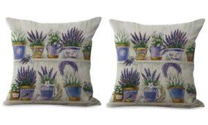 set of 2 vintage lavendar flower cushion cover