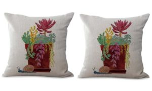 set of 2 vintage succulent plant cushion cover